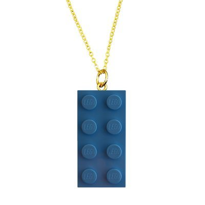 Light Blue LEGO® brick 2x4 on a Gold plated trace chain (18