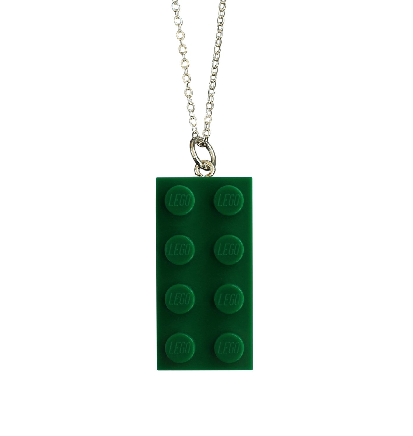 "​Dark Green LEGO® brick 2x4 on a Silver plated trace chain (18"" or 24"")"