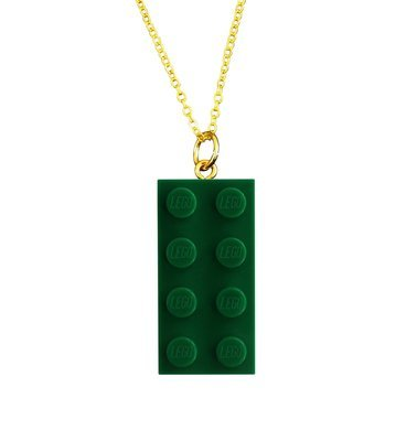 ​Dark Green LEGO® brick 2x4 on a Gold plated trace chain (18