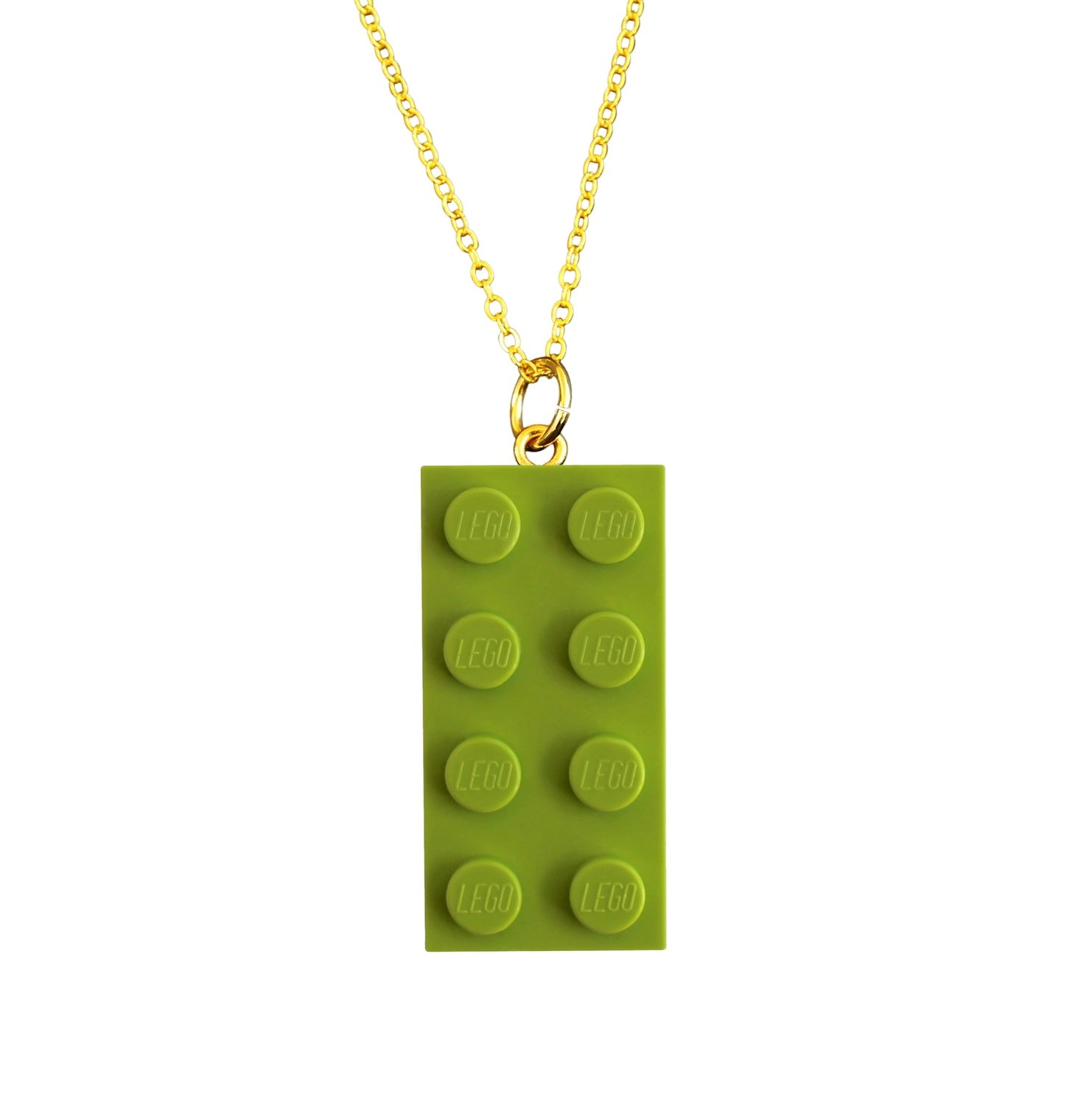 """Light Green LEGO® brick 2x4 on a Gold plated trace chain (18"""" or 24"""")"""