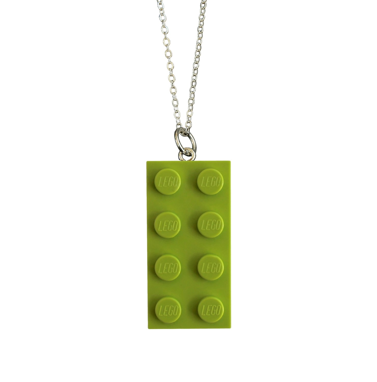 "Light Green LEGO® brick 2x4 on a Silver plated trace chain (18"" or 24"")"