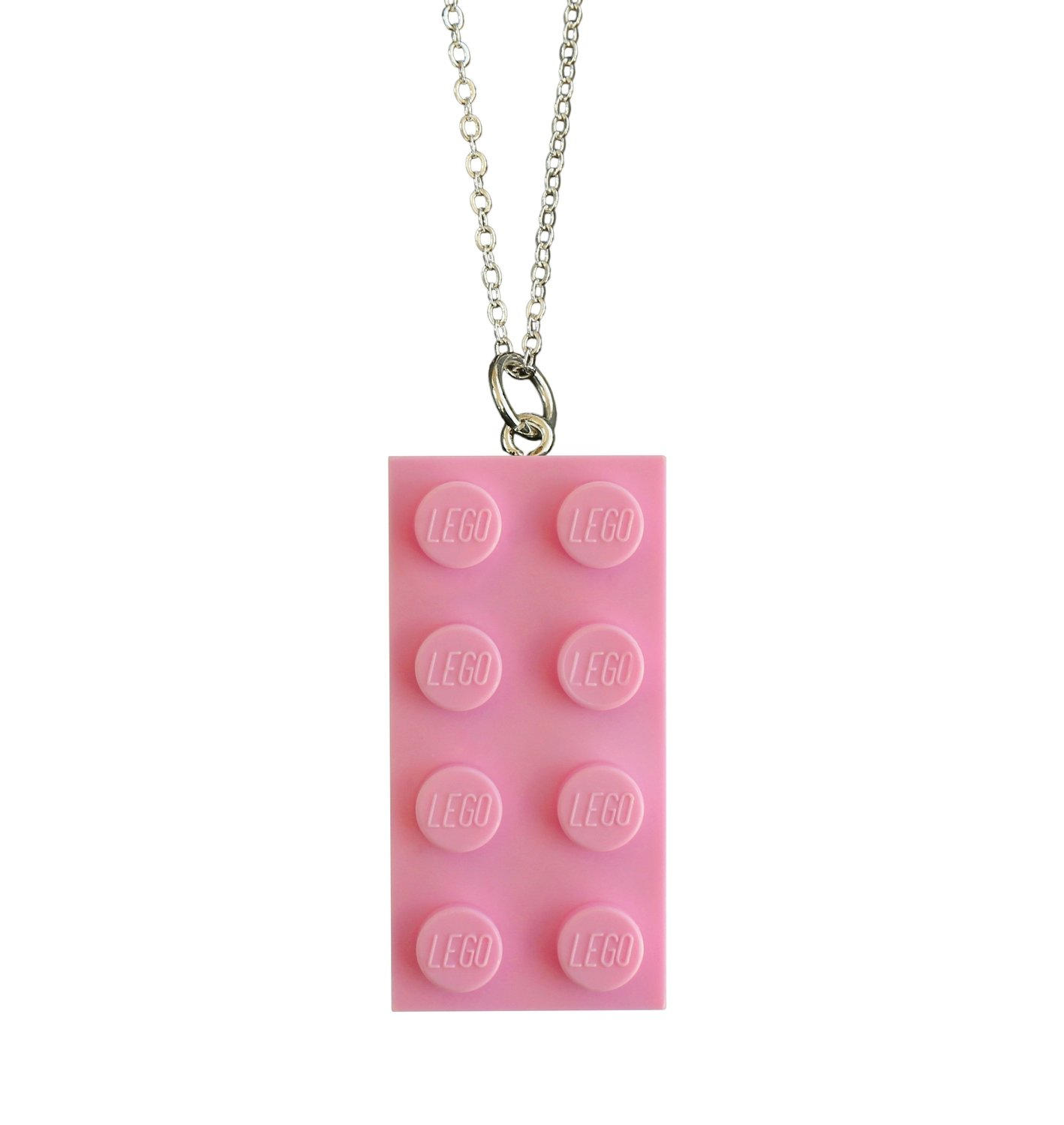 """Light Pink LEGO® brick 2x4 on a Silver plated trace chain (18"""" or 24"""")"""