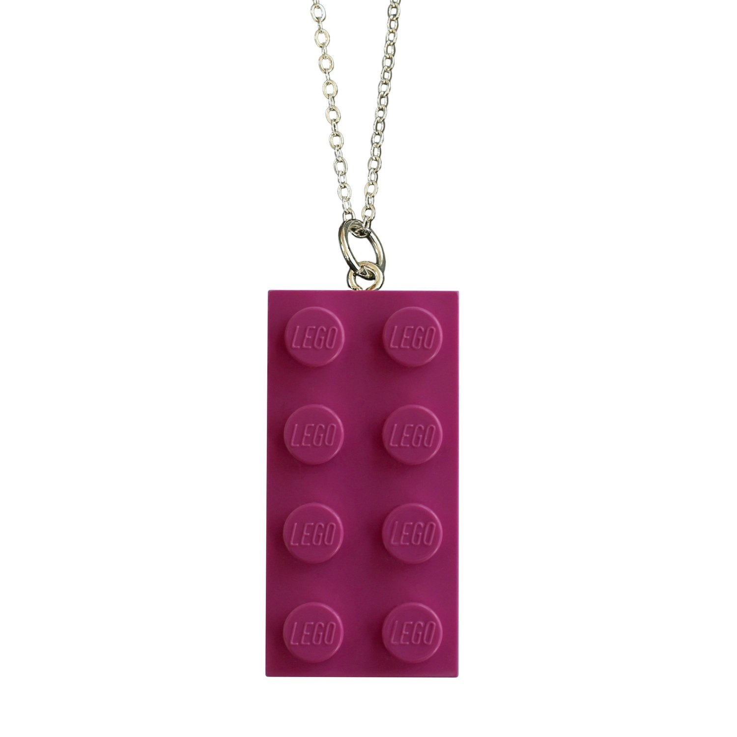 "Dark Pink LEGO® brick 2x4 on a Silver plated trace chain (18"" or 24"")"