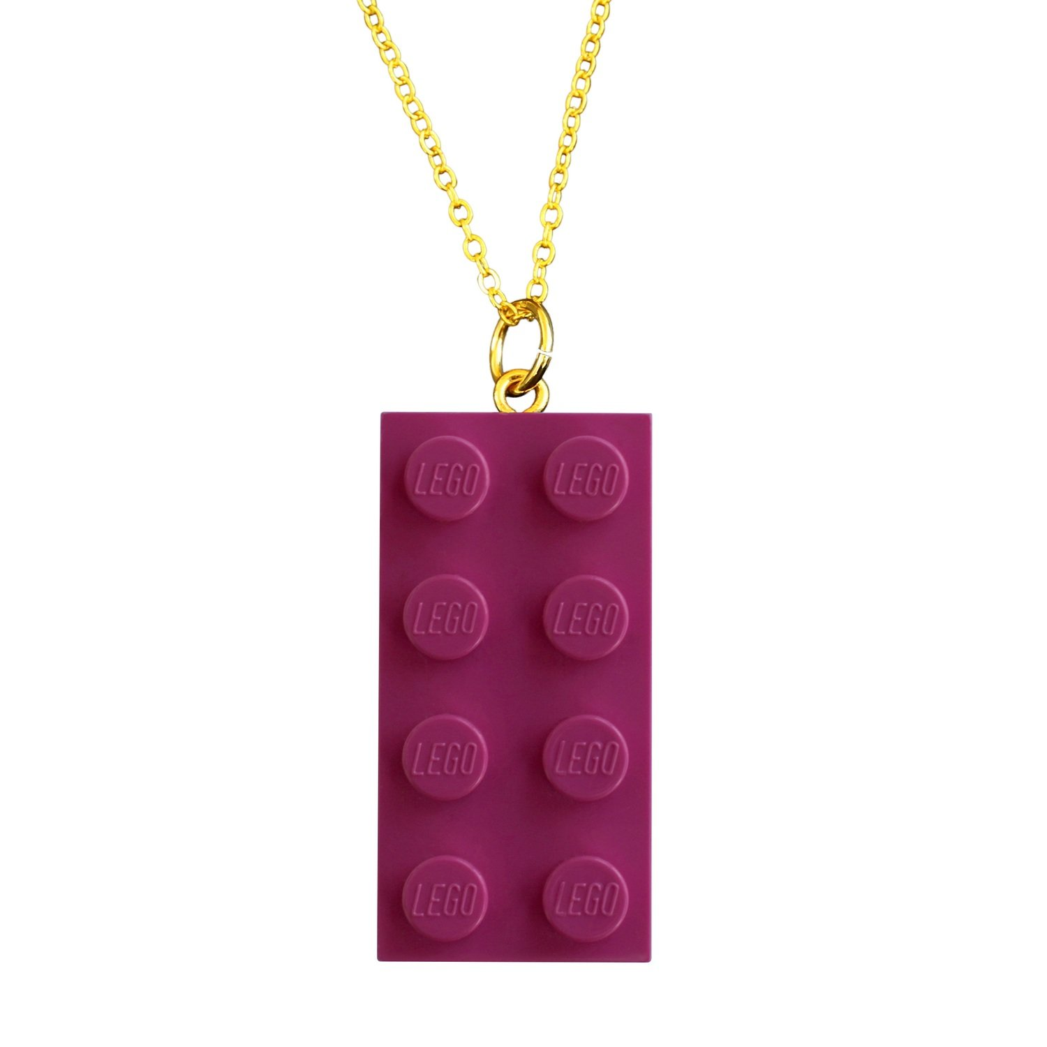 "​Dark Pink LEGO® brick 2x4 on a Gold plated trace chain (18"" or 24"")"