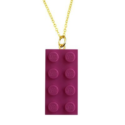 ​Dark Pink LEGO® brick 2x4 on a Gold plated trace chain (18