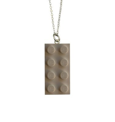 White LEGO® brick 2x4 on a Silver plated trace chain (18