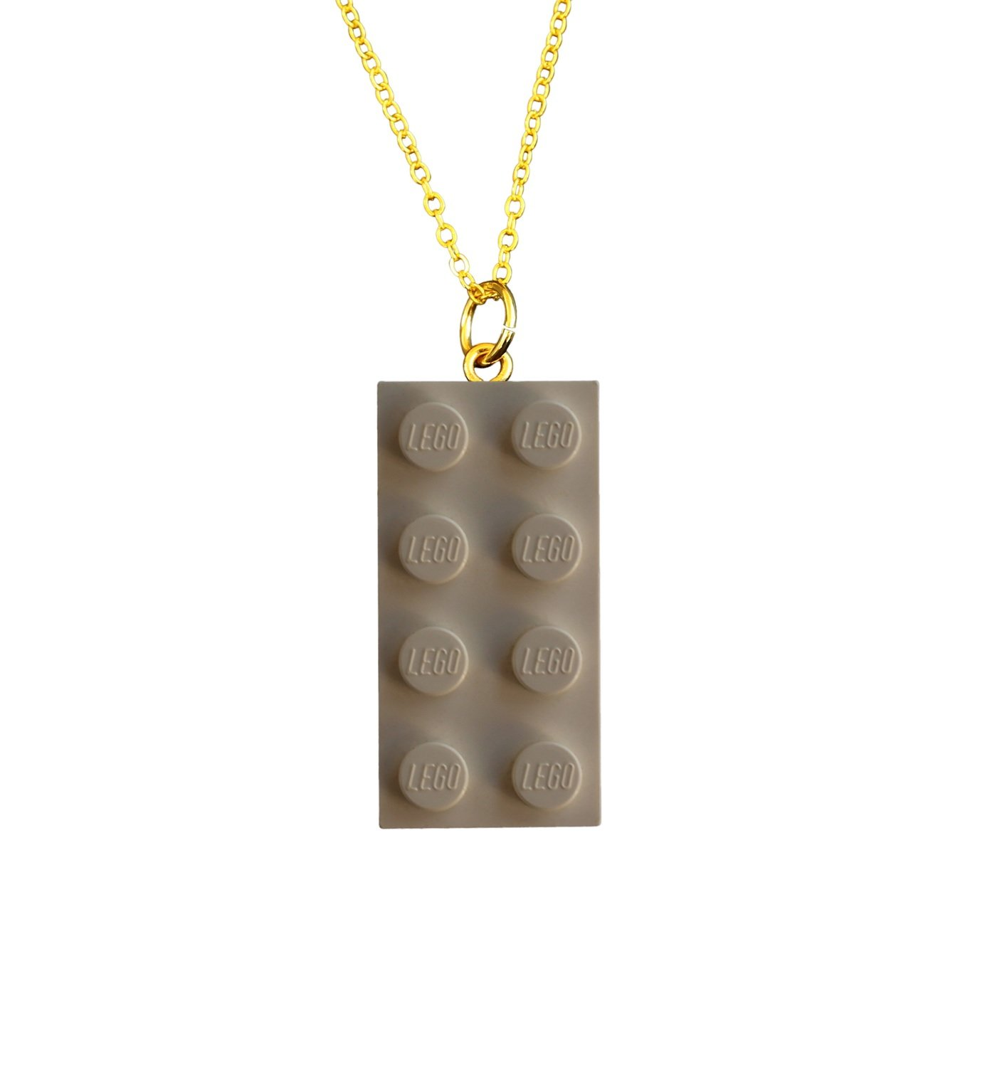 """White LEGO® brick 2x4 on a Gold plated trace chain (18"""" or 24"""")"""