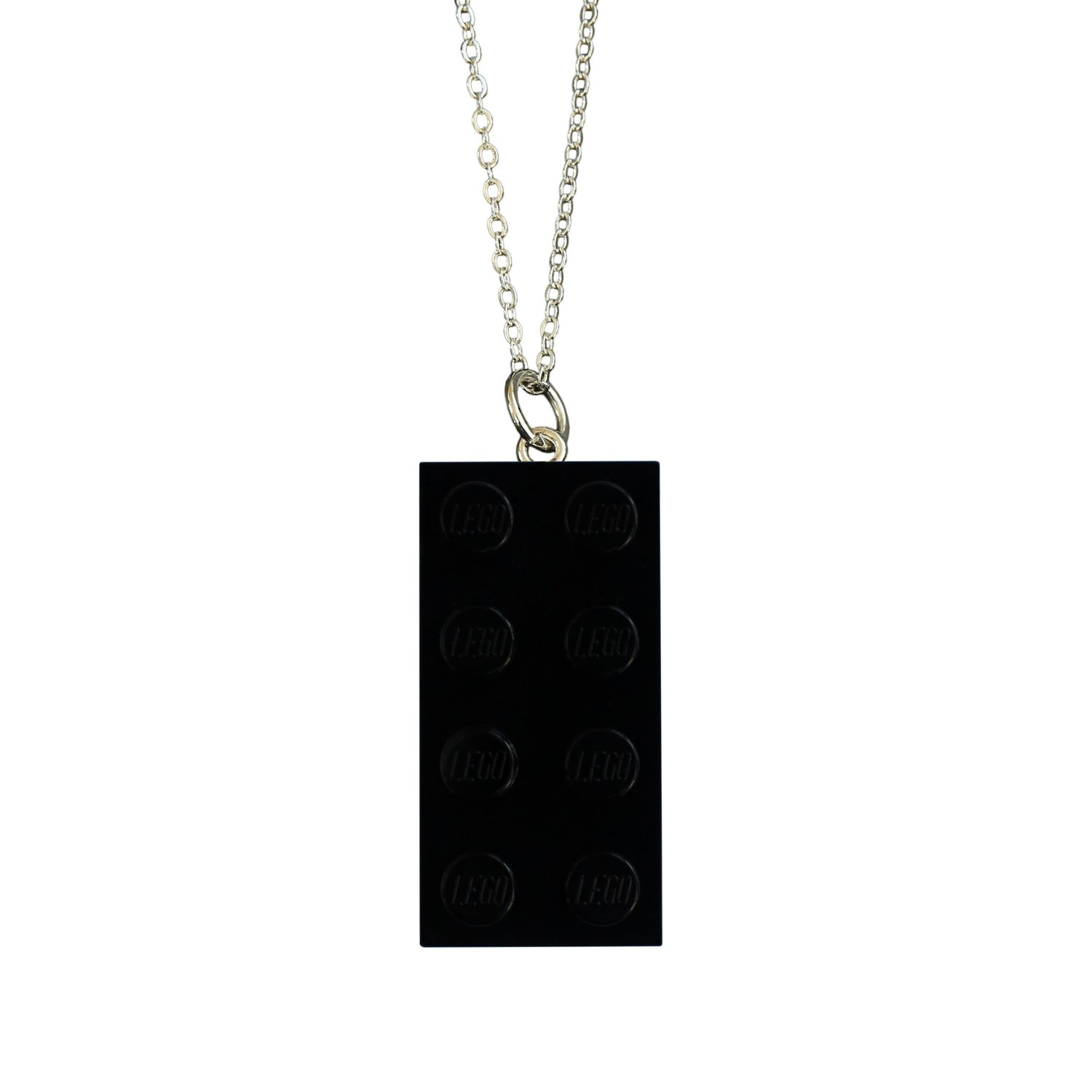 """Black LEGO® brick 2x4 on a Silver plated trace chain (18"""" or 24"""")"""