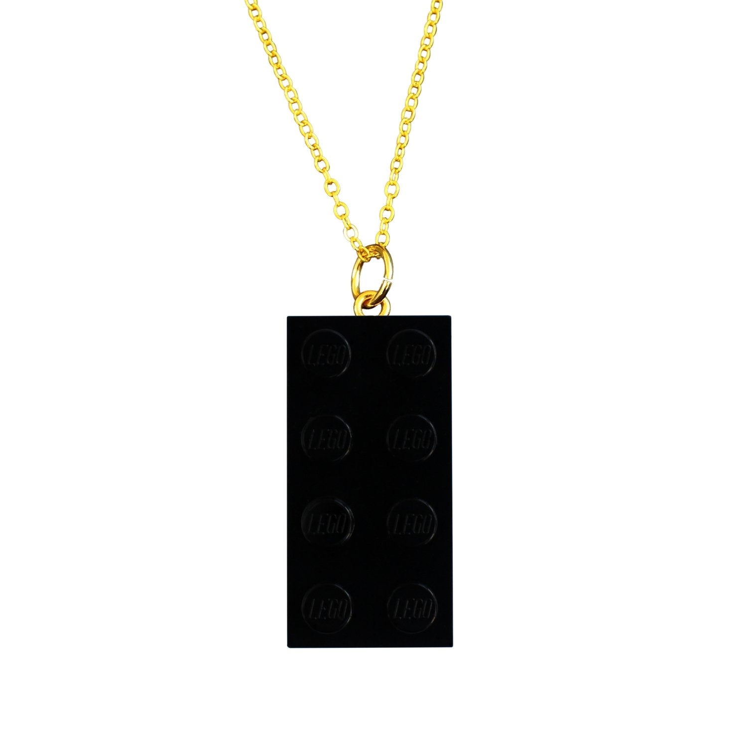 "Black LEGO® brick 2x4 on a Gold plated trace chain (18"" or 24"")"