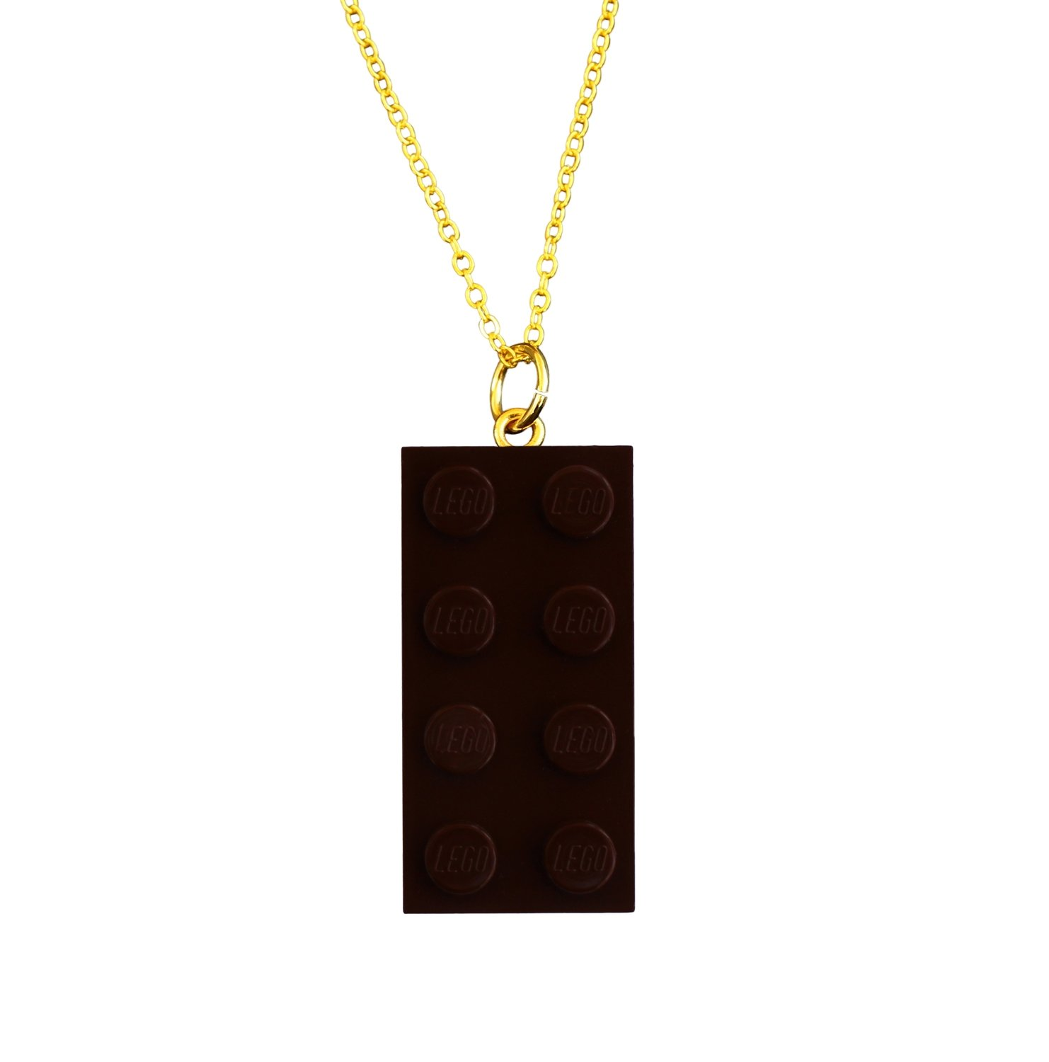 "​Brown LEGO® brick 2x4 on a Gold plated trace chain (18"" or 24"")"