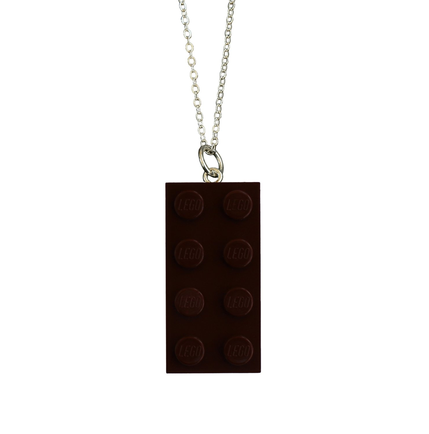 "Brown LEGO® brick 2x4 on a Silver plated trace chain (18"" or 24"")"