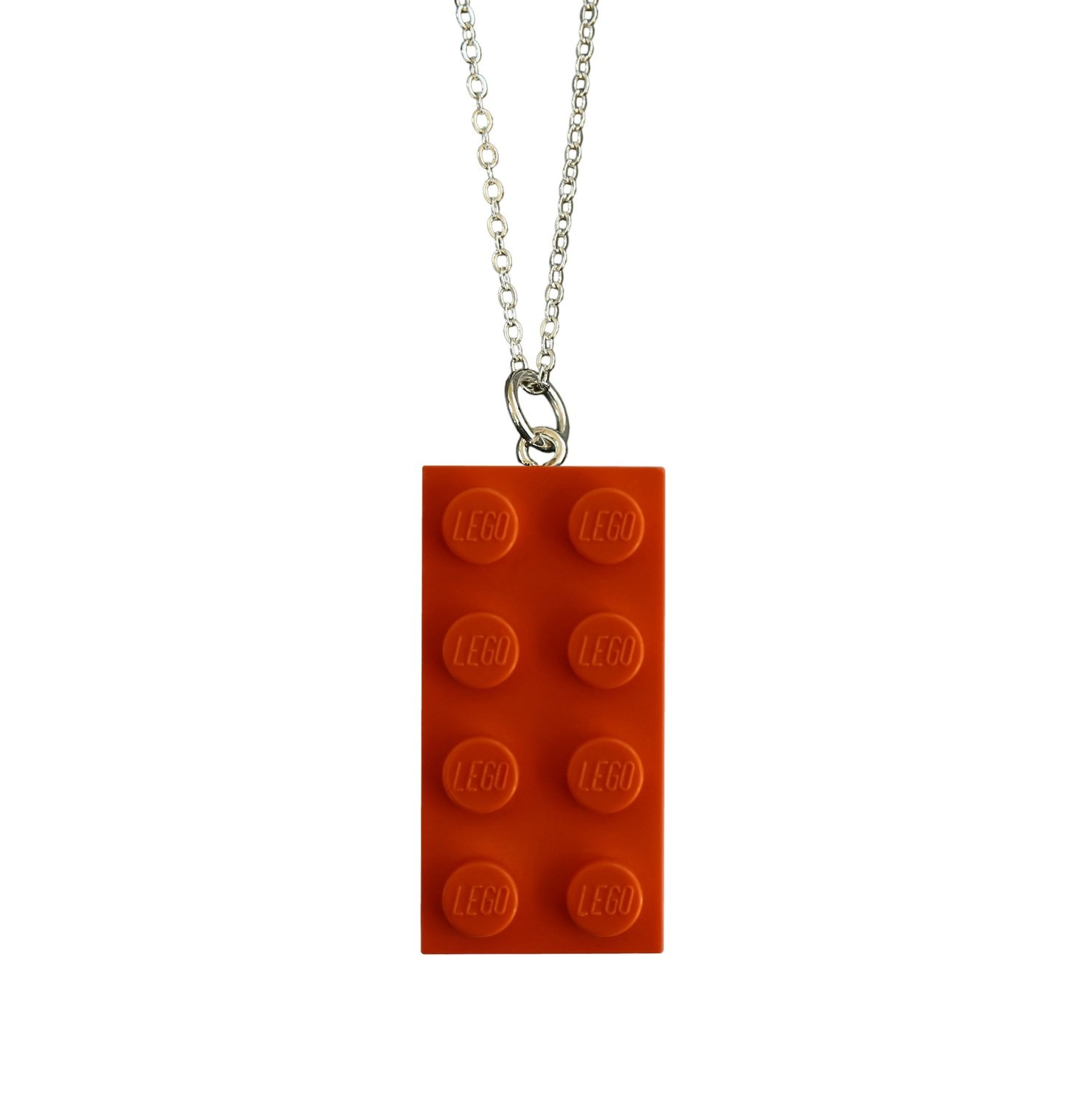 "​Orange LEGO® brick 2x4 on a Silver plated trace chain (18"" or 24"")"