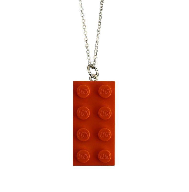 Orange LEGO® brick 2x4 on a Silver plated trace chain (18
