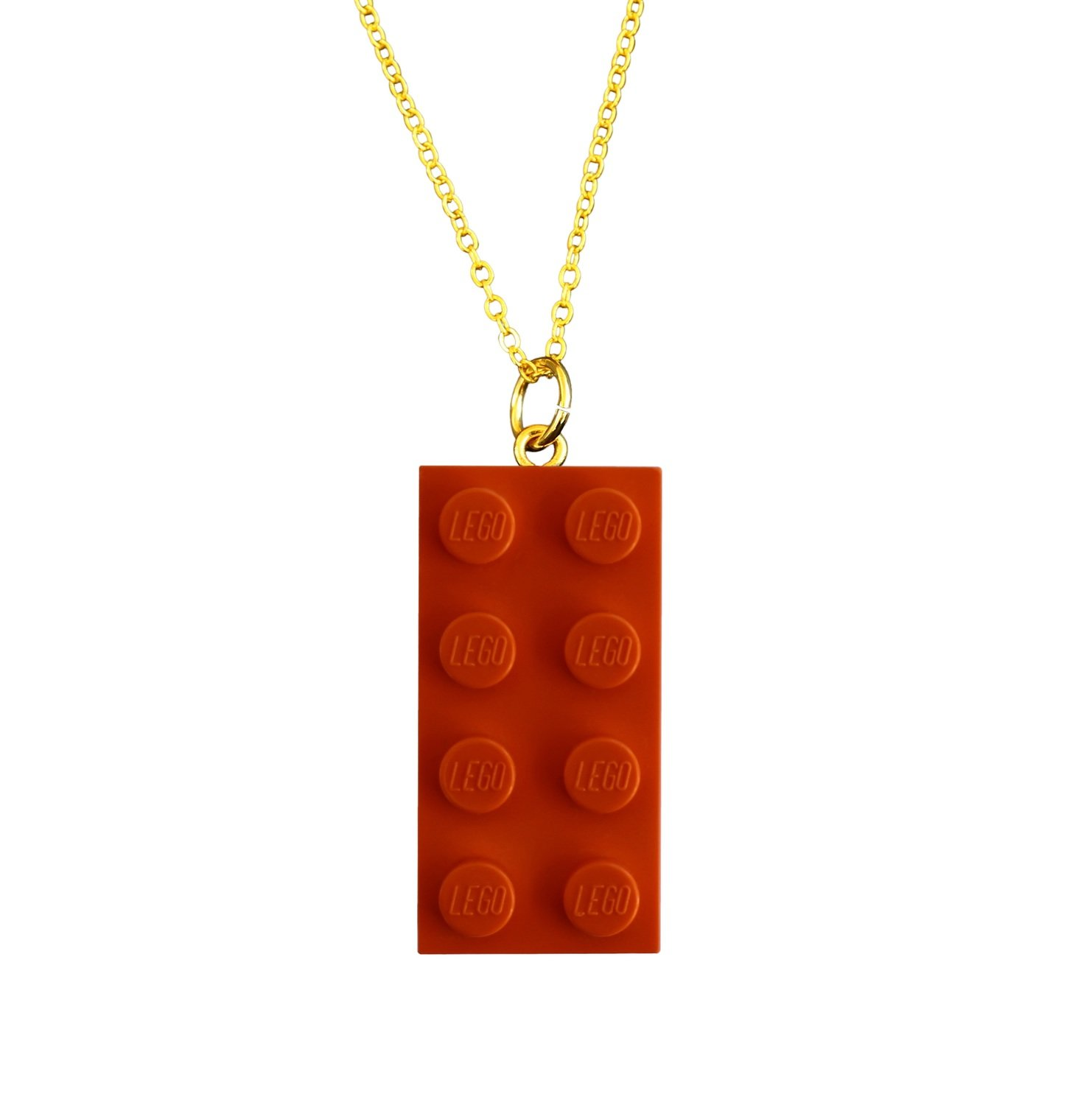 "​Orange LEGO® brick 2x4 on a Gold plated trace chain (18"" or 24"")"