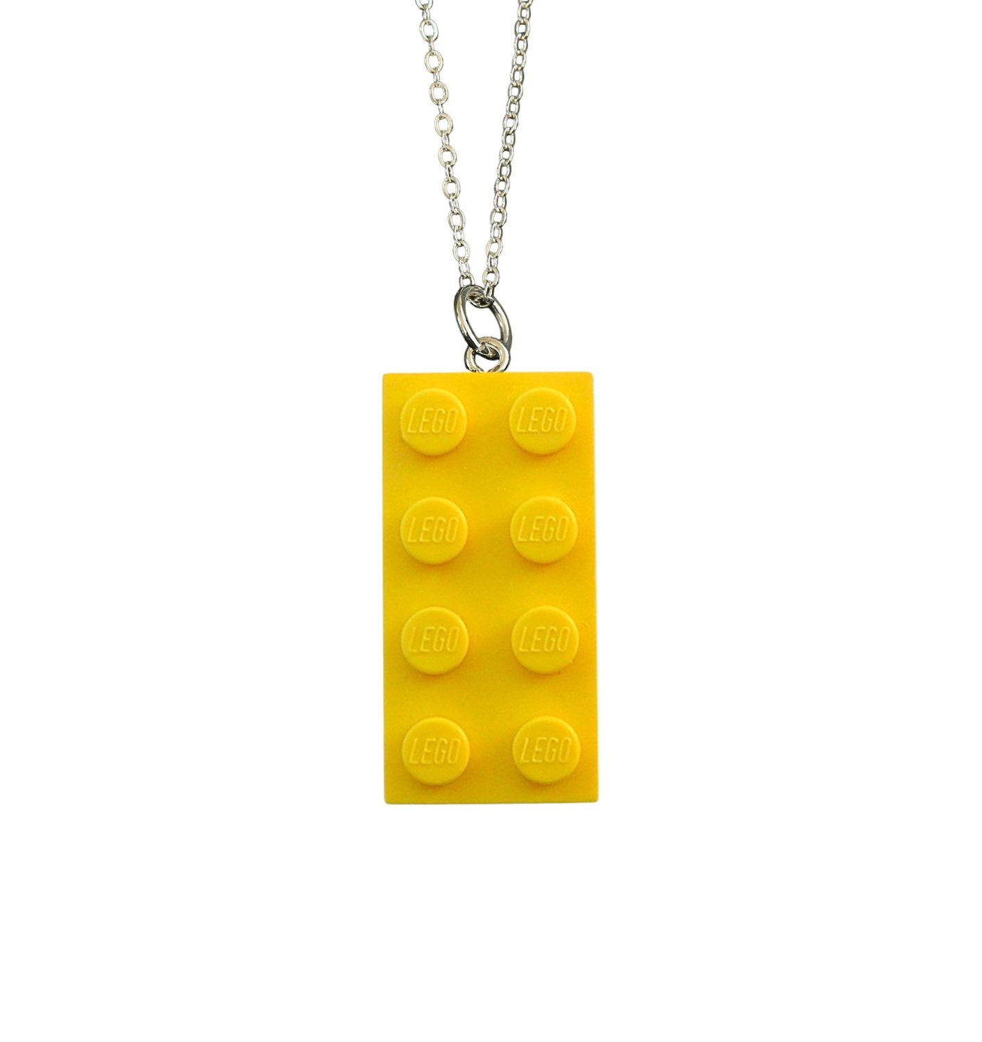"​Yellow LEGO® brick 2x4 on a Silver plated trace chain (18"" or 24"")"