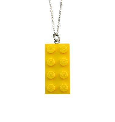 ​Yellow LEGO® brick 2x4 on a Silver plated trace chain (18