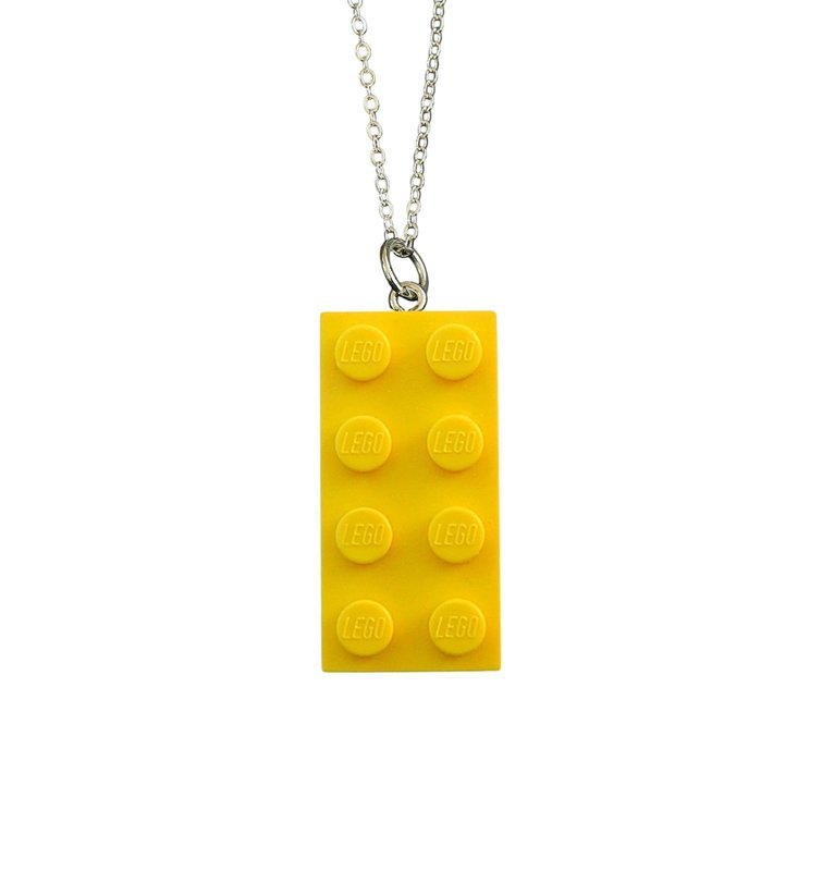 Yellow LEGO® brick 2x4 on a Silver plated trace chain (18