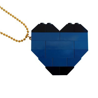 "​Collectible heart pendant (Double thickness) Model 6 - made from LEGO® bricks on a 24"" Gold plated ballchain - NAVY"