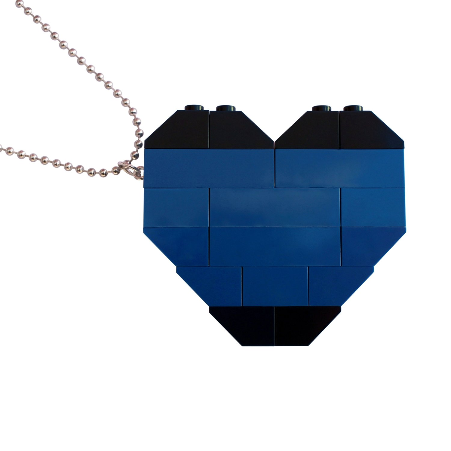 """Collectible heart pendant (Double thickness) Model 6 - made from LEGO® bricks on a 24"""" Silver plated ballchain - NAVY"""