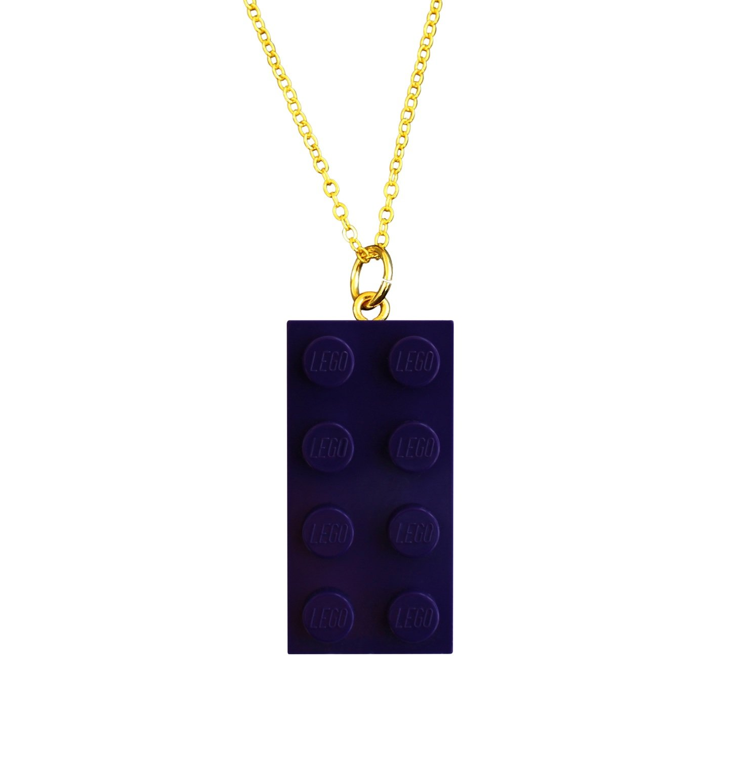"​Purple LEGO® brick 2x4 on a Gold plated trace chain (18"" or 24"")"