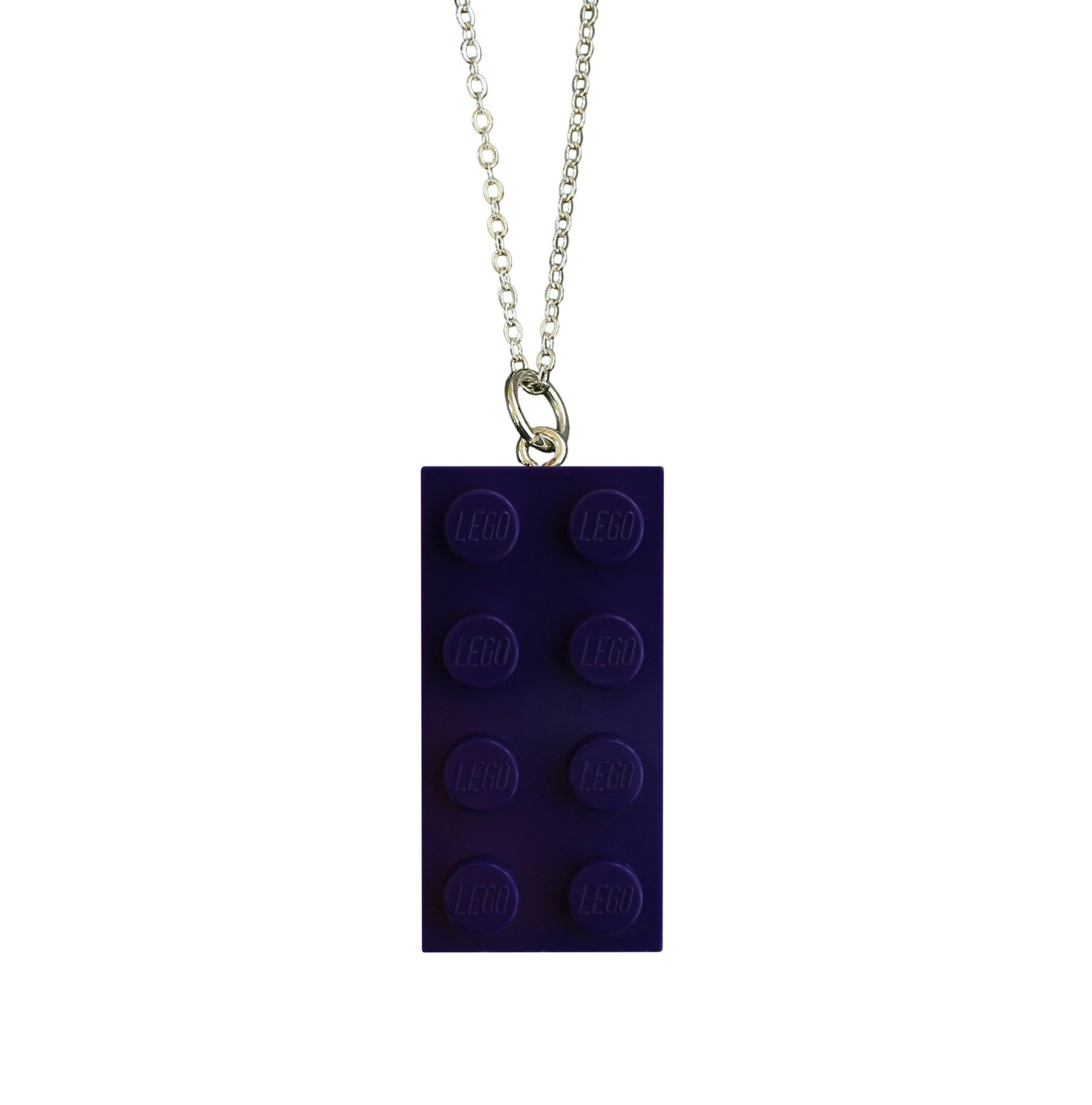 "Purple LEGO® brick 2x4 on a Silver plated trace chain (18"" or 24"")"