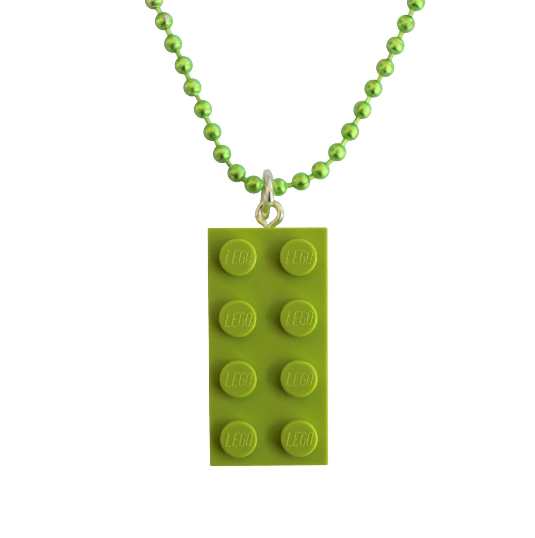 "Light Green LEGO® brick 2x4 on a 24"" Green ballchain"