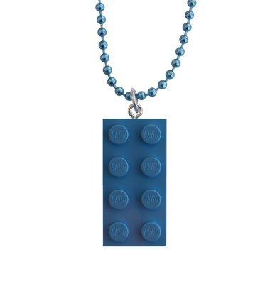 "Light Blue LEGO® brick 2x4 on a 24"" Blue ballchain"