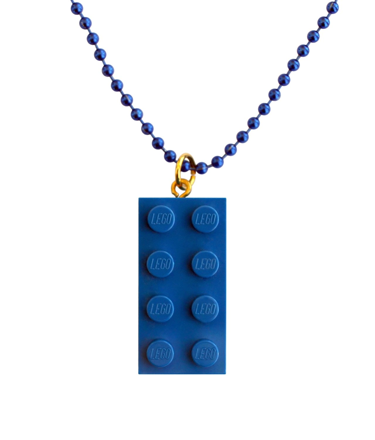"​Dark Blue LEGO® brick 2x4 on a 24"" Blue ballchain"