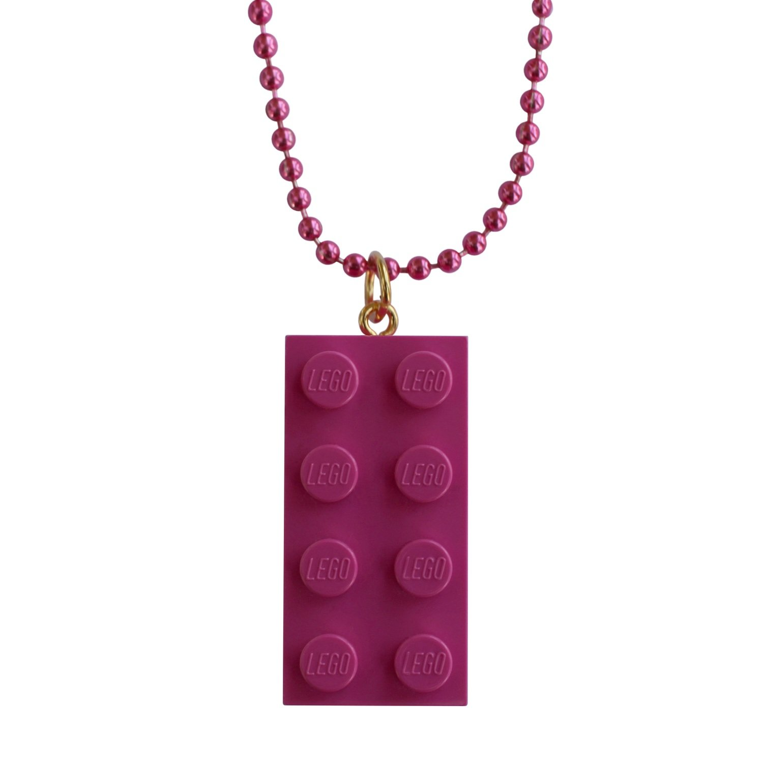 "Dark Pink LEGO® brick 2x4 on a 24"" Pink ballchain"