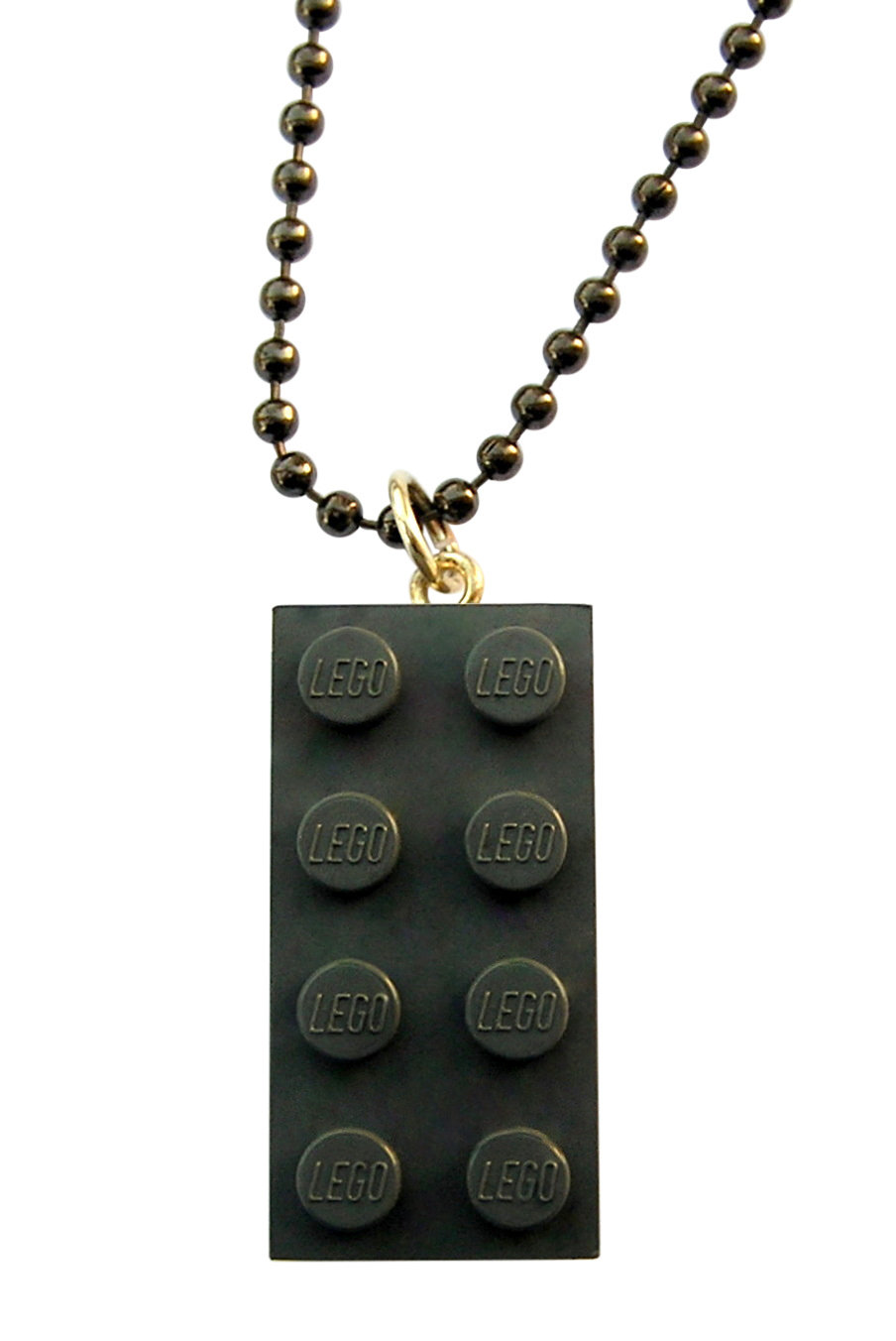 "​Gray LEGO® brick 2x4 on a 24"" Gray ballchain"