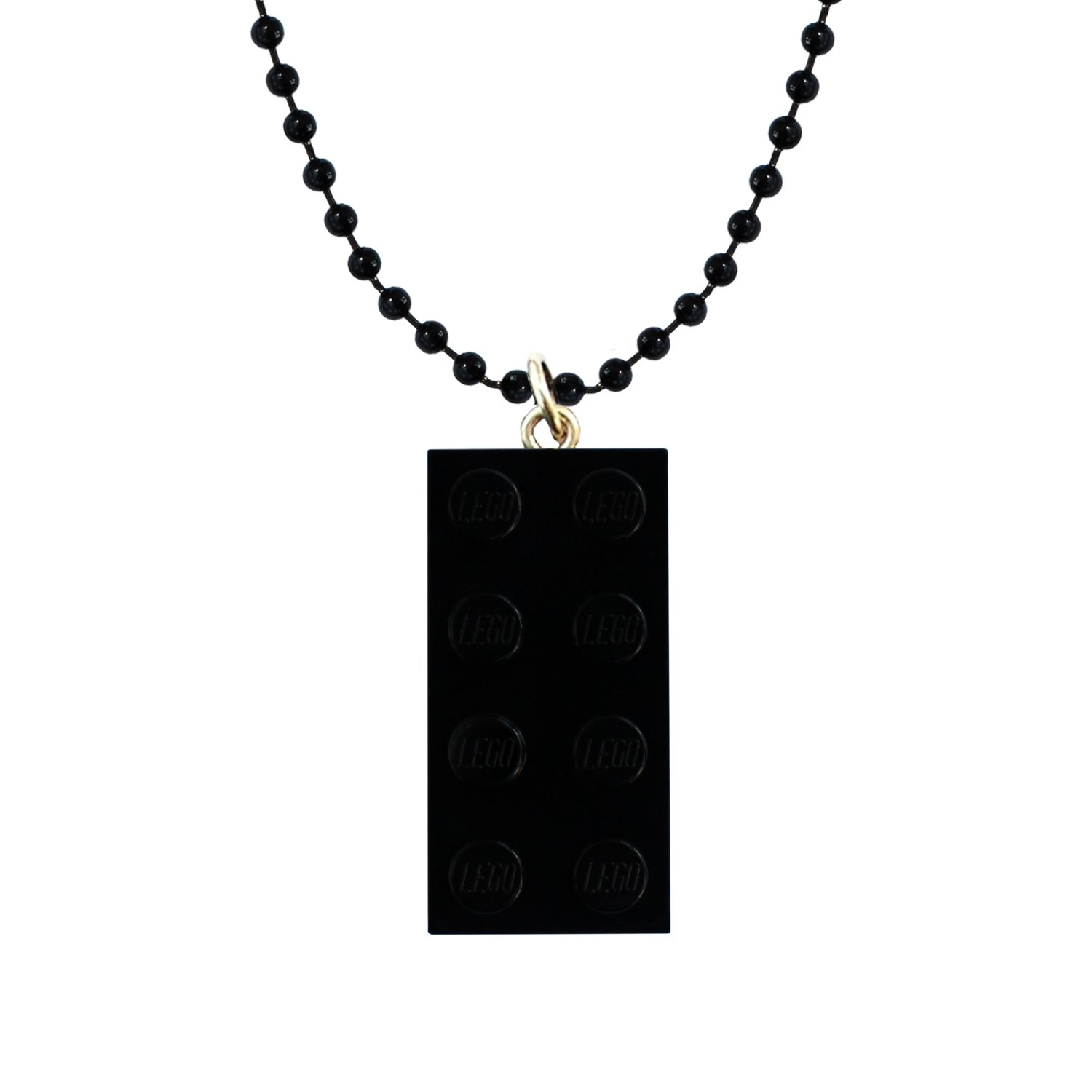 "Black LEGO® brick 2x4 on a 24"" Black ballchain"