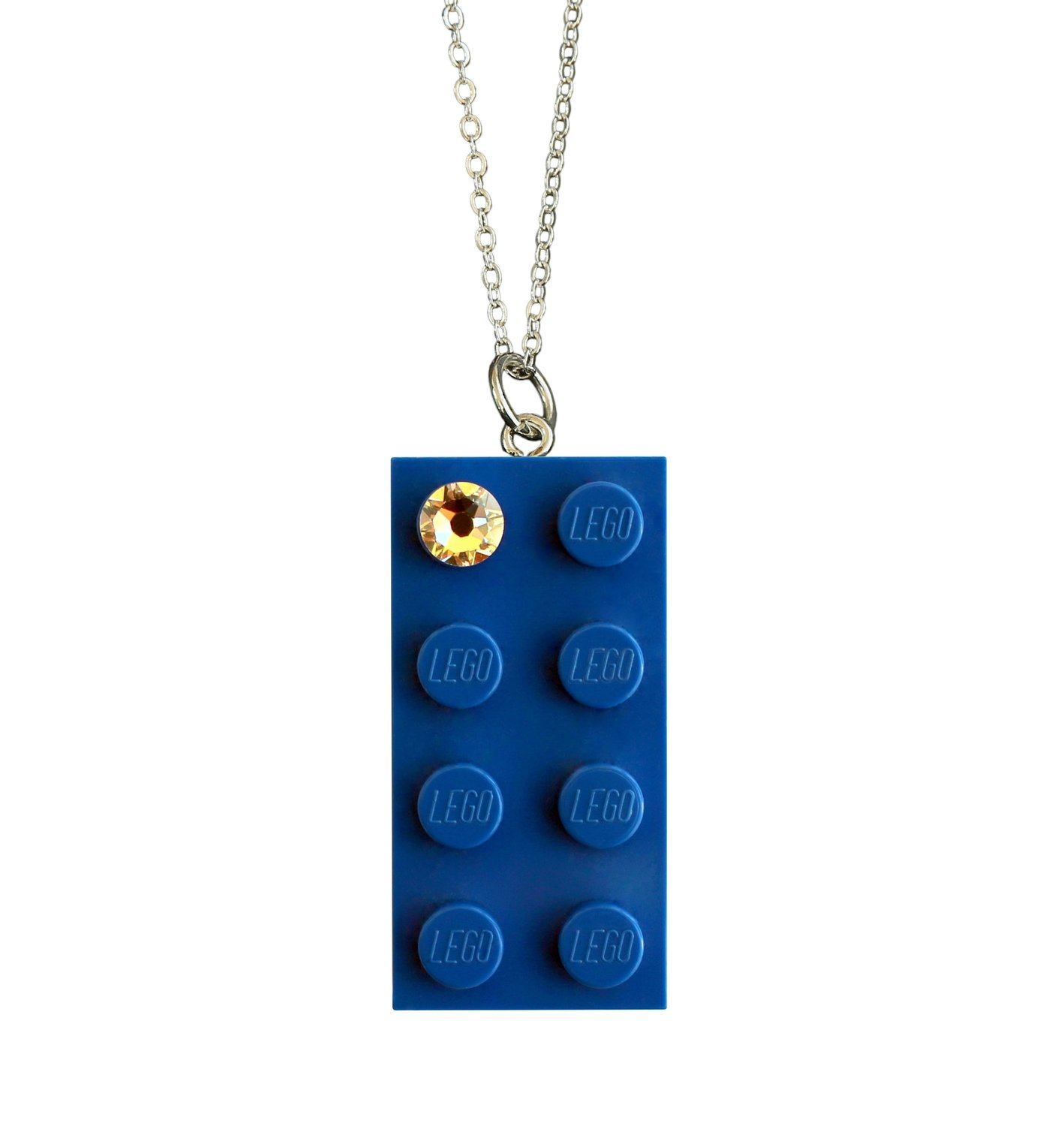 """Dark Blue LEGO® brick 2x4 with a 'Diamond' color SWAROVSKI® crystal on a Silver plated trace chain (18"""" or 24"""")"""