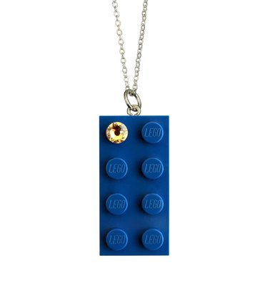"Dark Blue LEGO® brick 2x4 with a 'Diamond' color SWAROVSKI®​ crystal​ on a Silver plated trace chain (18"" or 24"")"