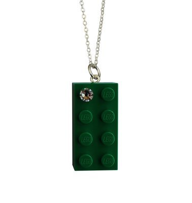 "Dark Green LEGO® brick 2x4 with a 'Diamond' color SWAROVSKI® crystal on a Silver plated trace chain (18"" or 24"")"