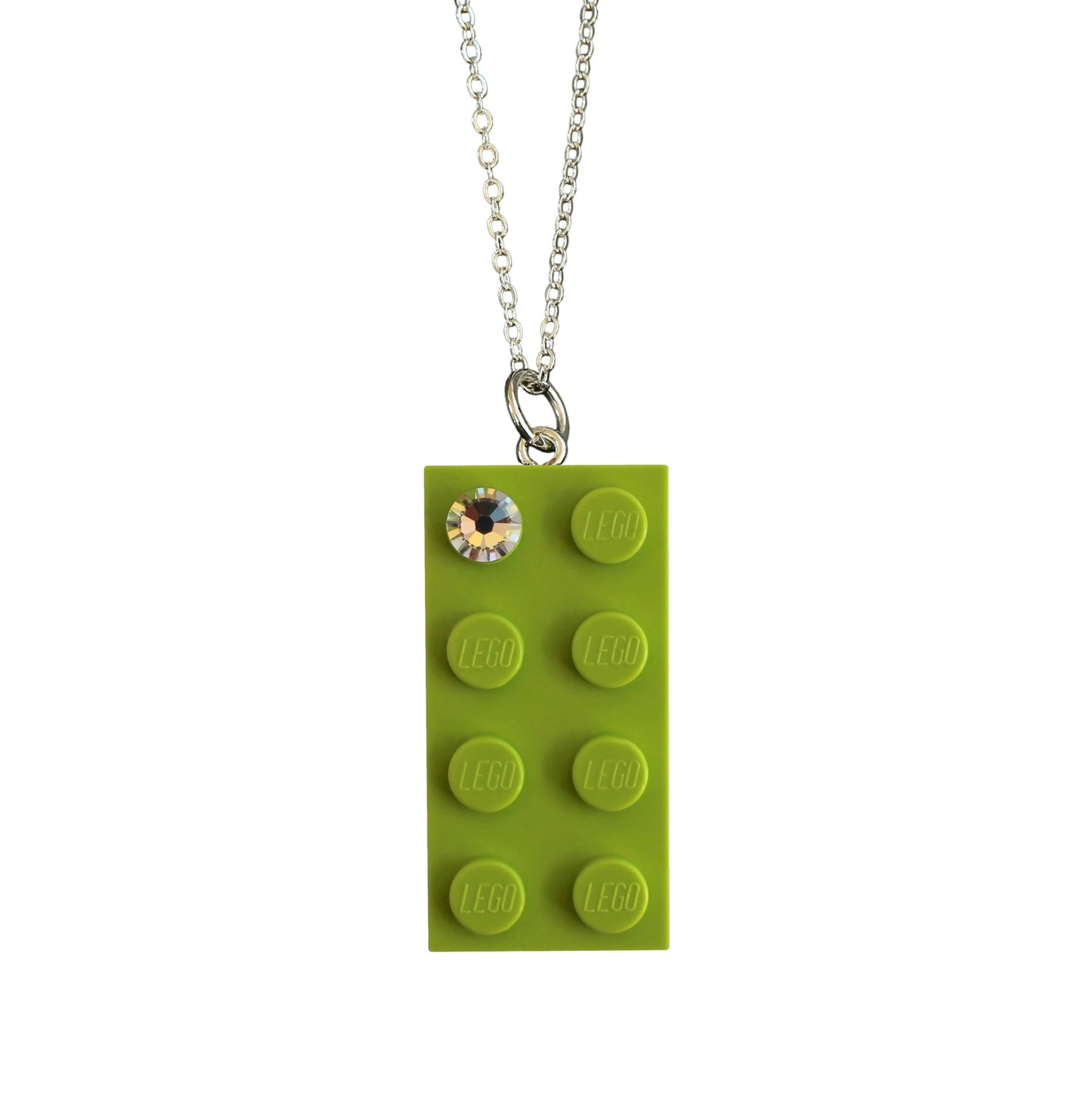 "Light Green LEGO® brick 2x4 with a 'Diamond' color SWAROVSKI® crystal on a Silver plated trace chain (18"" or 24"")​​"