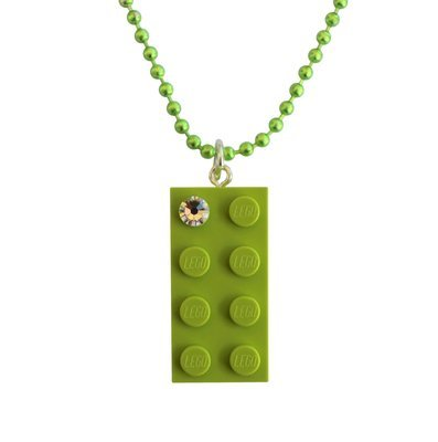 "Light Green LEGO® brick 2x4 with a 'Diamond' color​ SWAROVSKI® crystal on a 24"" Green ballchain"