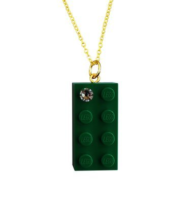 "Dark Green LEGO® brick 2x4 with a 'Diamond' color SWAROVSKI® crystal on a Gold plated trace chain (18"" or 24"")"