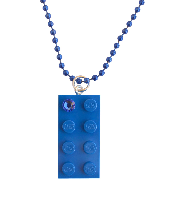 """Dark Blue LEGO® brick 2x4 with a Blue SWAROVSKI® crystal on a 24"""" Blue ballchain"""