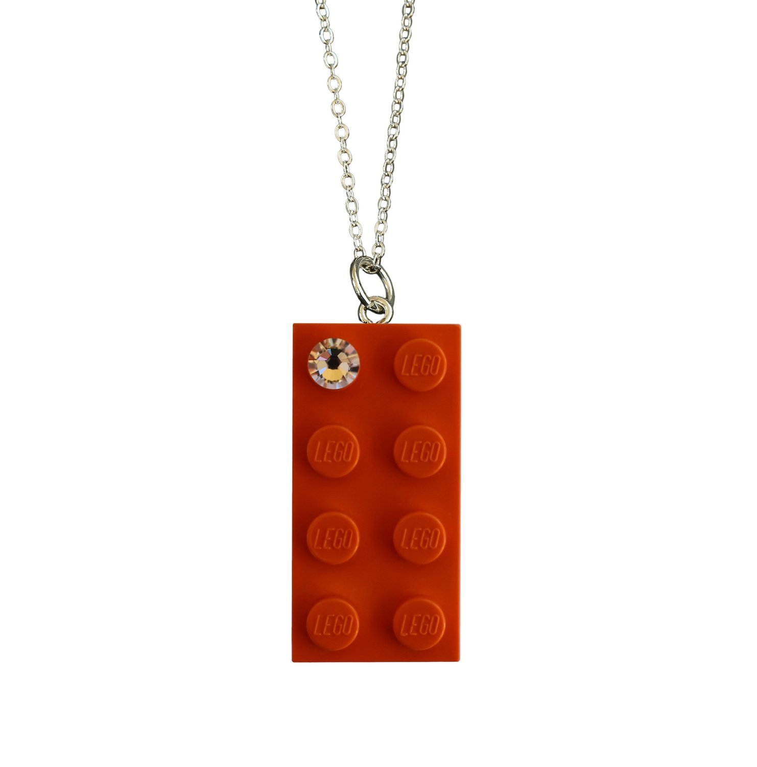 "Orange LEGO® brick 2x4 with a 'Diamond' color SWAROVSKI® crystal on a Silver plated trace chain (18"" or 24"")"