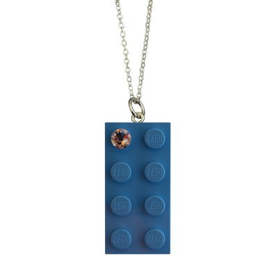 "​Light Blue LEGO® brick 2x4 with a 'Diamond' color SWAROVSKI® crystal on a Silver plated trace chain (18"" or 24"")"