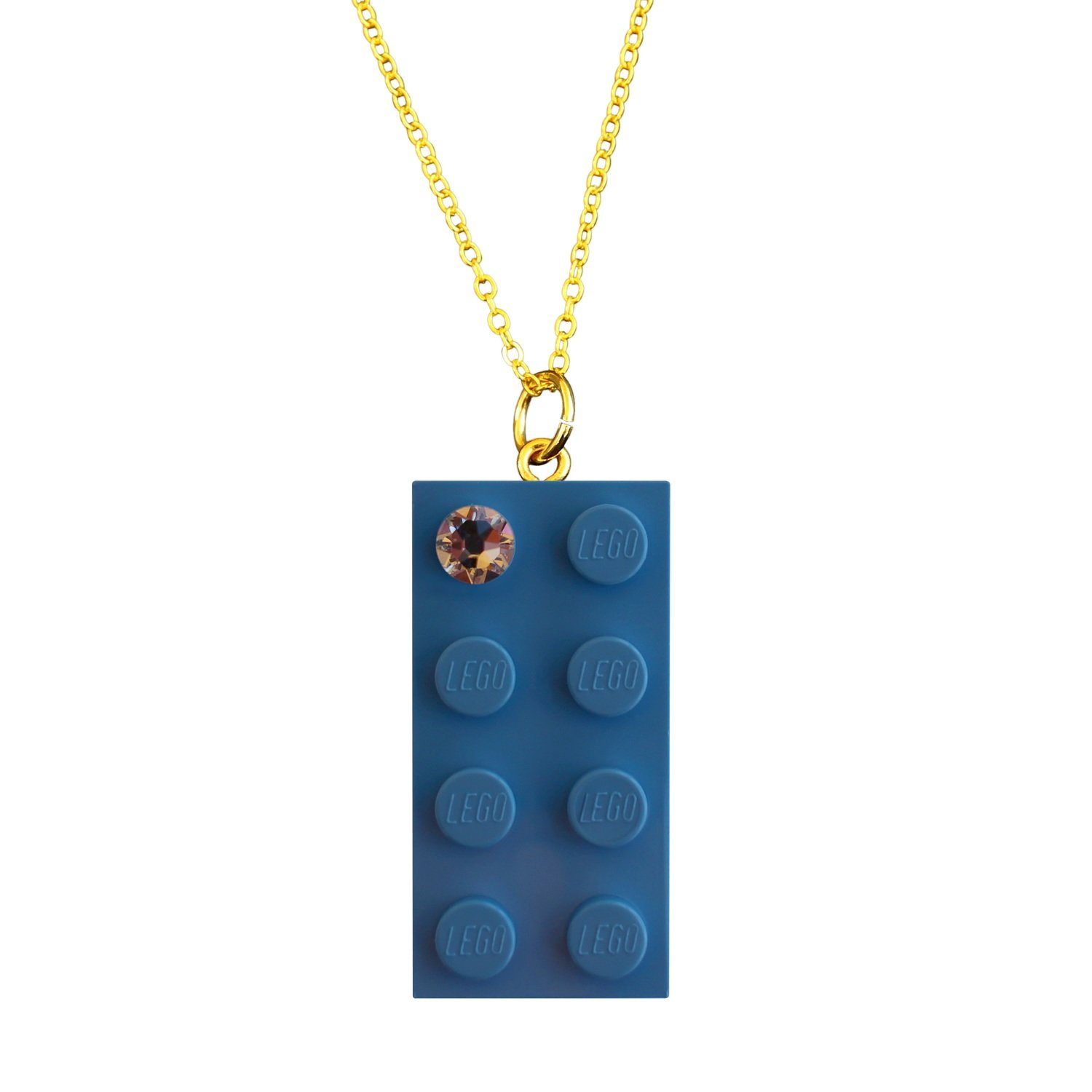 """Light Blue LEGO® brick 2x4 with a 'Diamond' color SWAROVSKI® crystal on a Gold plated trace chain (18"""" or 24"""")"""