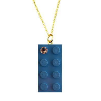 "Light Blue LEGO® brick 2x4 with a 'Diamond' color SWAROVSKI® crystal on a Gold plated trace chain (18"" or 24"")"