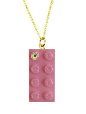 "Light Pink LEGO® brick 2x4 with a 'Diamond' color SWAROVSKI® crystal on a Gold plated trace chain (18"" or 24"")"
