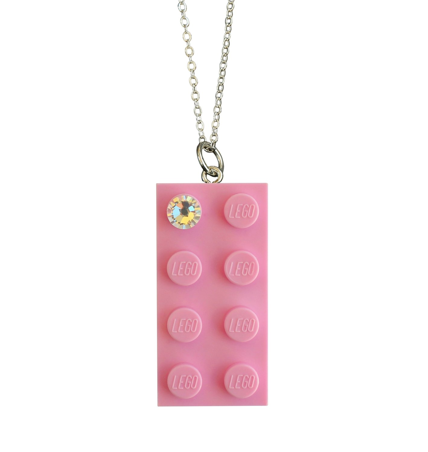 "​Light Pink LEGO® brick 2x4 with a 'Diamond' color SWAROVSKI® crystal on a Silver plated trace chain (18"" or 24"")"