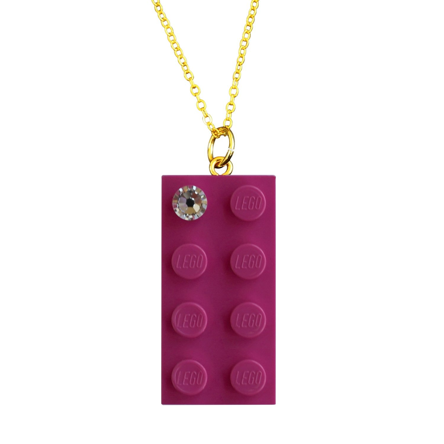 "Dark Pink LEGO® brick 2x4 with a 'Diamond' color SWAROVSKI® crystal on a Gold plated trace chain (18"" or 24"")"