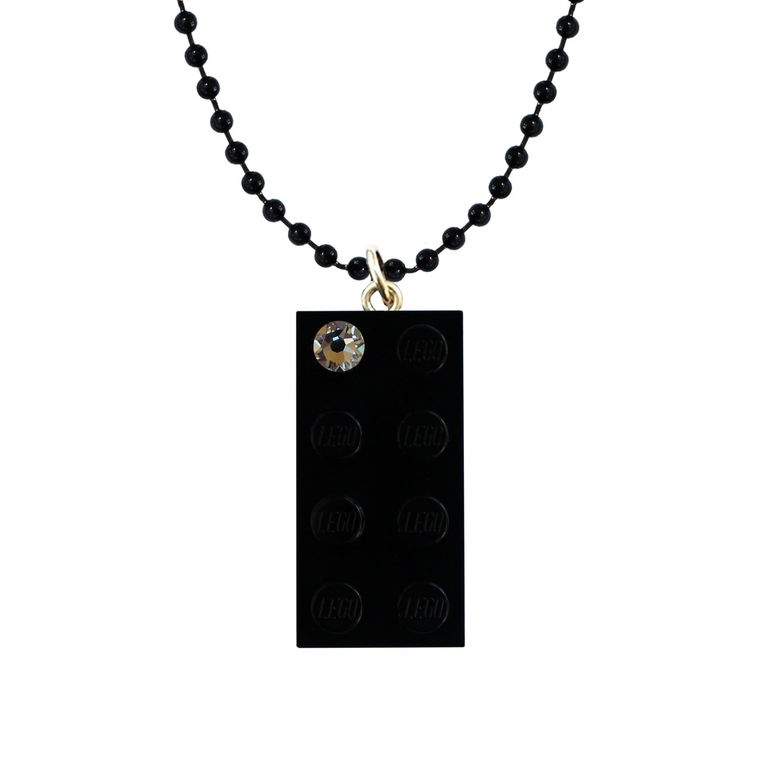 "Black LEGO® brick 2x4 with a 'Diamond' color SWAROVSKI® crystal on a 24"" Black ballchain"