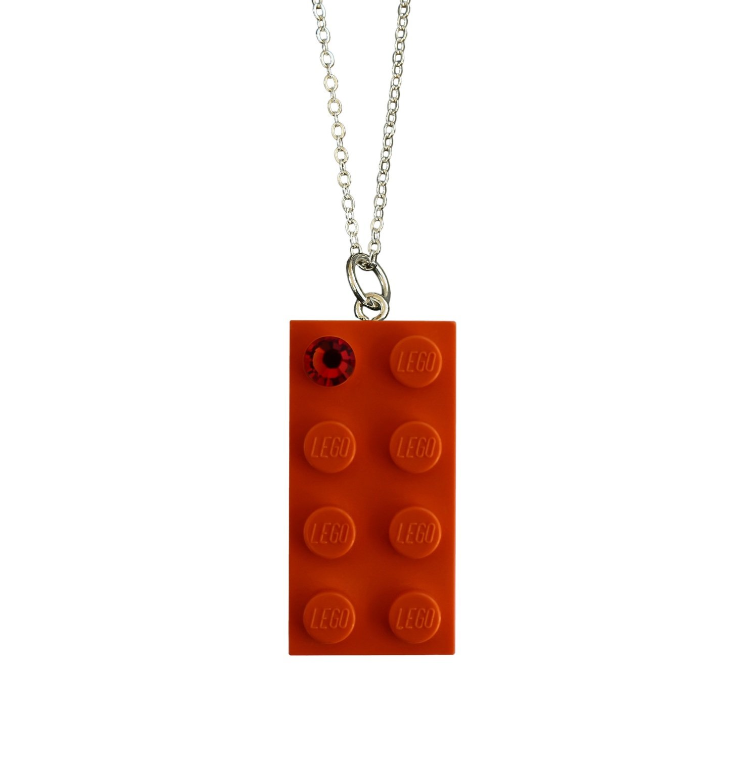 "Orange LEGO® brick 2x4 with an Orange SWAROVSKI® crystal on a Silver plated trace chain (18"" or 24"")"
