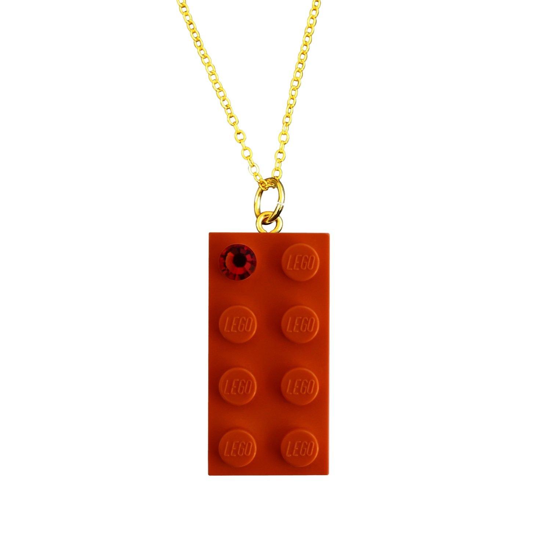"Orange LEGO® brick 2x4 with an Orange SWAROVSKI® crystal on a Gold plated trace chain (18"" or 24"")"