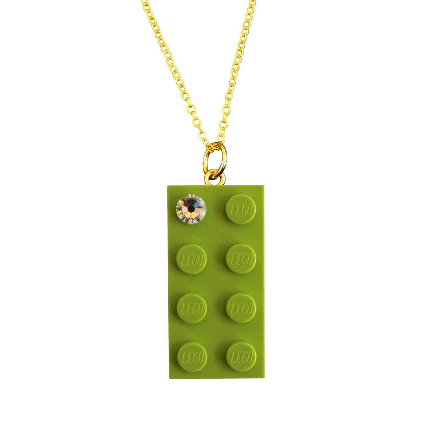 "​Light Green LEGO® brick 2x4 with a 'Diamond' color SWAROVSKI® crystal on a Gold plated trace chain (18"" or 24"")"