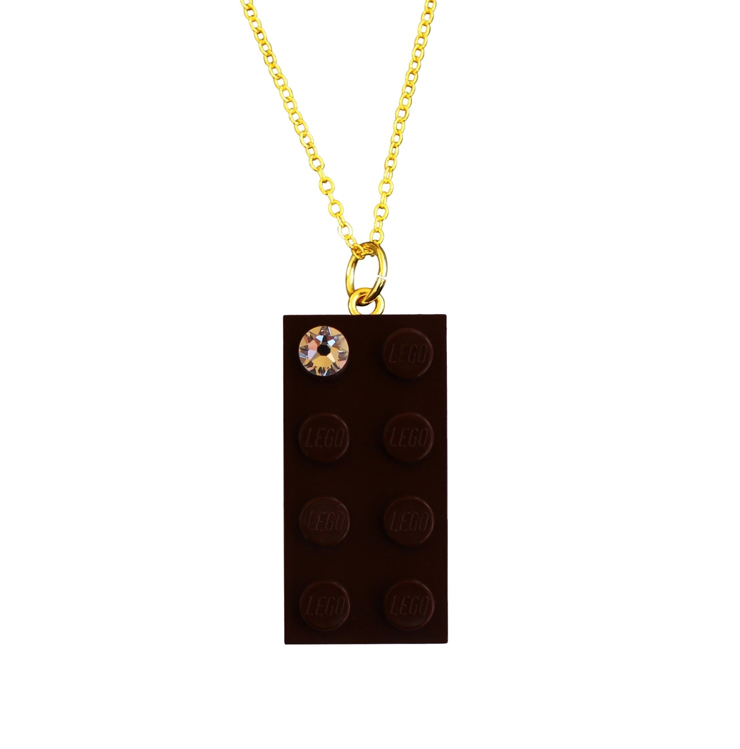 "Brown LEGO® brick 2x4 with a 'Diamond' color SWAROVSKI® crystal on a Gold plated trace chain (18"" or 24"")"